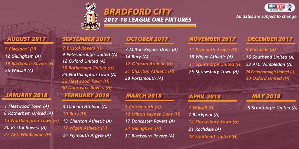 2017 18 Fixtures A Helpful Breakdown News Bradford City